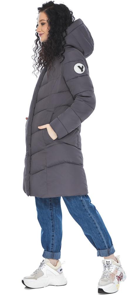 Теплая графитовая куртка женская осенне-весенняя модель 21025 (ОСТАЛСЯ ТОЛЬКО 40(4XS))