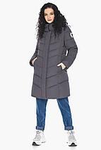 Теплая графитовая куртка женская осенне-весенняя модель 21025 (ОСТАЛСЯ ТОЛЬКО 40(4XS)), фото 2