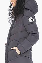 Теплая графитовая куртка женская осенне-весенняя модель 21025 (ОСТАЛСЯ ТОЛЬКО 40(4XS)), фото 3
