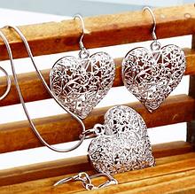 Комплект прикрас ланцюжок, кулон та сережки, покриті сріблом код 1378