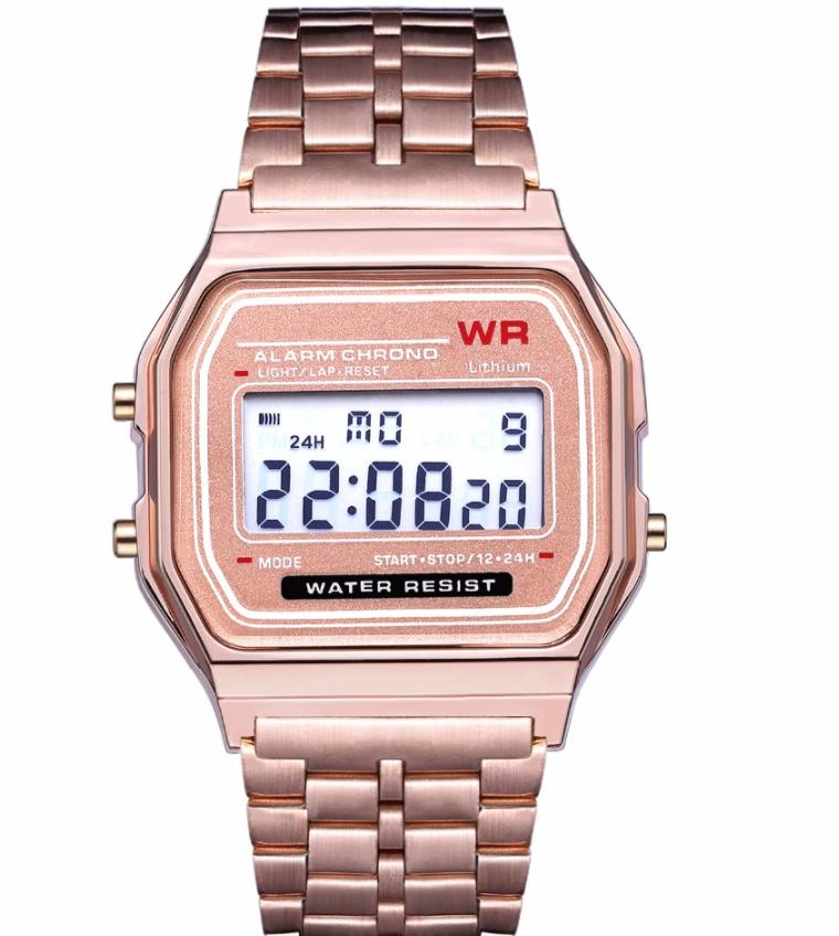 Наручные электронные часы с золотистым браслетом код 453 Уценка