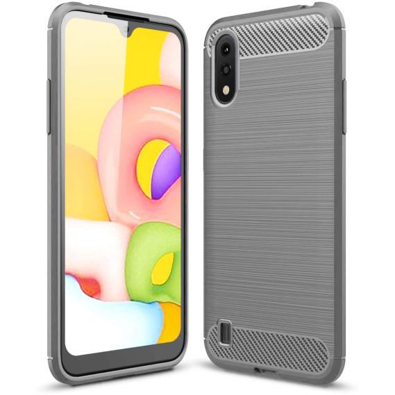 Силиконовый противоударный чехол Polished Carbon для Samsung Galaxy A01