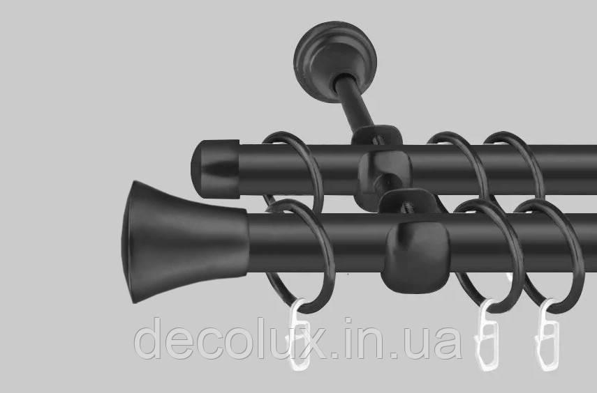 Чорний матовий Карниз для штор металевий, дворядний 19 мм (комплект) Принц