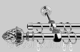 Карниз для штор металевий, дворядний 19 мм (Принц) Антик