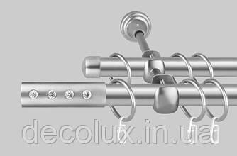 Карниз для штор дворядний металевий 19 мм, Алюр Сатин комплект