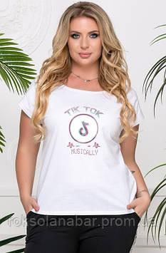 Футболка жіноча молодіжна біла з емблемою TIK TOK