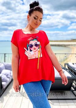 Футболка-туніка жіноча молодіжна червоного кольору з дівчиною в окулярах