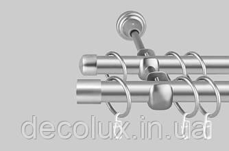 Карниз для штор дворядний металевий 19 мм, Хантос (комплект) Антик