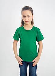 Дитяча однотонна футболка вільного крою (зелена)