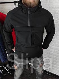Мужской анорак SoftShell на флисе, чёрный