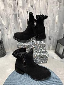 Черные замшевые ботиночки на каблуке 5 см размеры 36-40