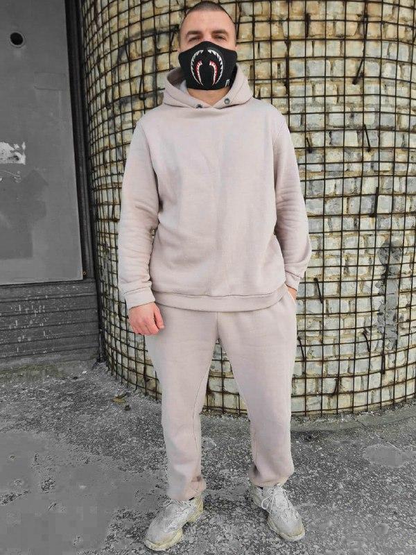 Стильный однотонный мужской спортивный костюм на флисе бежевый