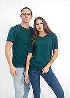 Женская тёмно зеленая футболка, хлопок 100% плотность 160 , футболки с нанесением логотипов