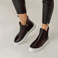 Ботинки женские Челси Kelly Corso натуральная кожа черные на белой подошве