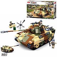 Конструктор Военный Армия большой боевой Танк на 725 деталей с фигурками, M38-B0859