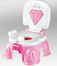 Горшок детский музыкальный  HE0806/HE0807 с бриллиантом  Розовый