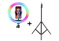 Кольцевая лампа разноцветная MJ33 Rgb 33см с штативом 2м