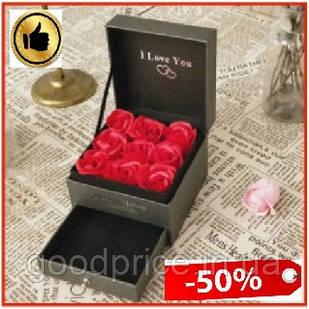 Подарочная шкатулка набор 9 роз из мыла с отделением под украшение коробка с подарочным набором роз из мыла