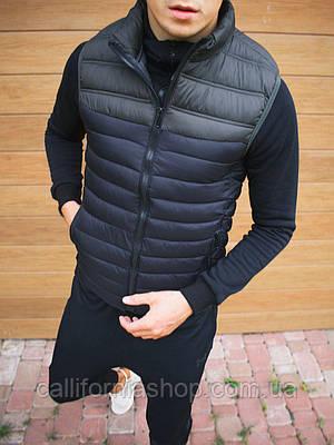 Жилетка мужская стеганая темно-синяя без капюшона демисезонная безрукавка