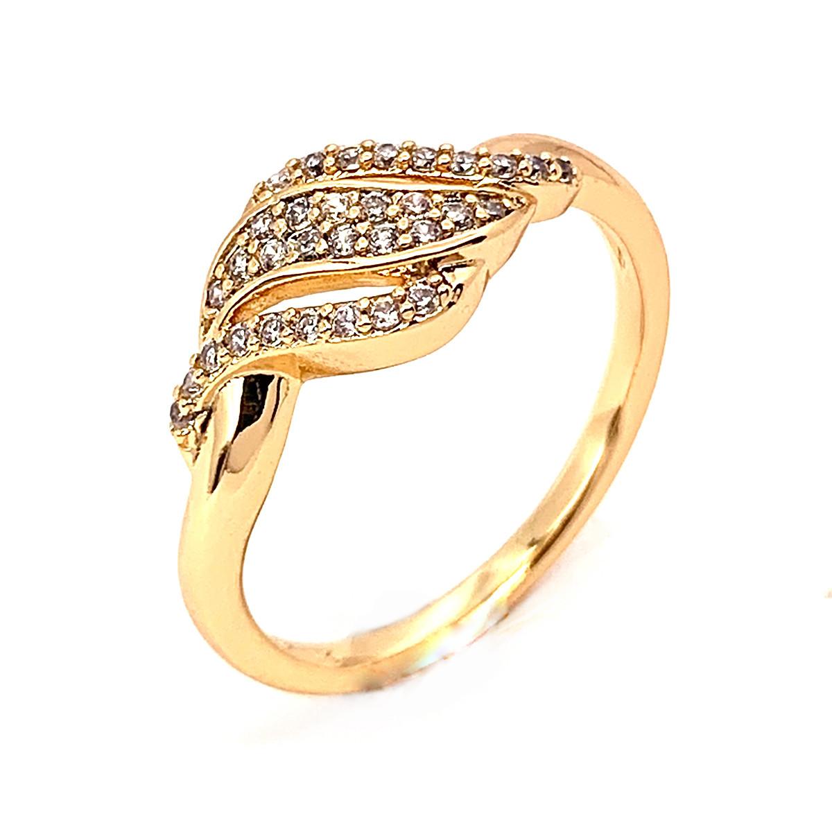 Кольцо Xuping из медицинского золота, белые фианиты, позолота 18K, 11968