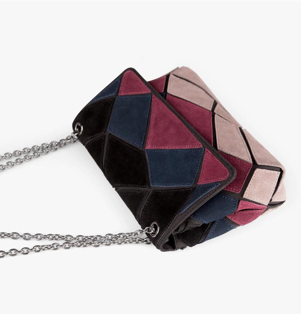 Кожаная женская сумка из натуральной кожи. Сумка клатч женская замшевая Nico Louise (черная) - фото 6