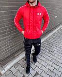 Under Armor Мужской спортивный костюм серый с капюшоном и брендированым лампасом.Кофта+штаны демисезонный, фото 4