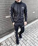 Under Armor Мужской спортивный костюм серый с капюшоном и брендированым лампасом.Кофта+штаны демисезонный, фото 6