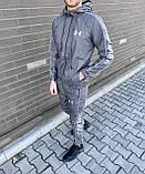 Under Armor Мужской спортивный костюм серый с капюшоном и брендированым лампасом.Кофта+штаны демисезонный, фото 2