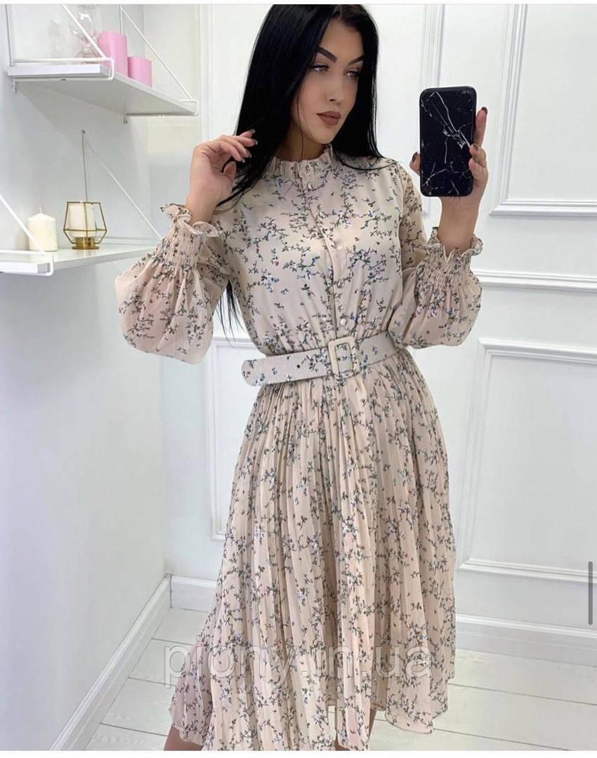 Женское платье миди принт