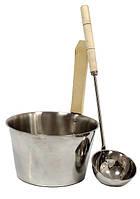 Шайка для сауны из нержавейки + черпак для бани