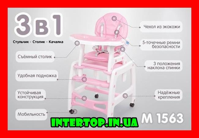 Стільчик трансформер для годування Bambi M 156311 рожевий. Дитячий стільчик для годування