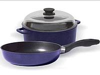 Сковорода и кастрюля в наборе с крышкой Биол Индиго И24ПС