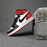 Женские кроссовки Nike Jordan (белые с черным и красным) спортивные демисезонные кроссы 20275, фото 5