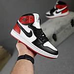 Женские кроссовки Nike Jordan (белые с черным и красным) спортивные демисезонные кроссы 20275, фото 7