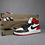 Женские кроссовки Nike Jordan (белые с черным и красным) спортивные демисезонные кроссы 20275, фото 8