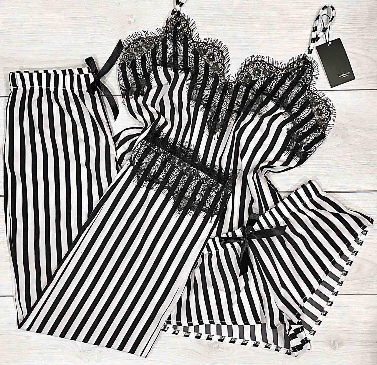 Черный комплект с кружевом, полосатый, майка-шорты-штаны.