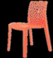 Оранжевый пластиковый стул в современном стиле CRYSTAL, штабелируется, для террас, веранд, беседок, кафе