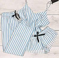 Модная полосатая пижама, женский комплект тройка- майка+шорты+штаны.