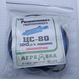 Ремкомплект гідроциліндра ЦС-80 (поліуретанові манжети)