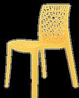 Желтый пластиковый стул в современном стиле CRYSTAL, штабелируется, для террас, веранд, беседок, кафе
