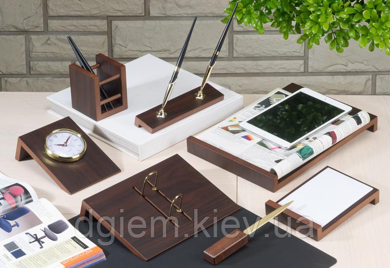 Настільний набір дерев'яний ANGLED, 8 предметів, горіх