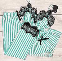 Нежная мятная  пижама из легкой ткани с тонким кружевом.