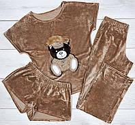 Пижама тройка, штаны, шорты и футболка бежевые с аппликацией.