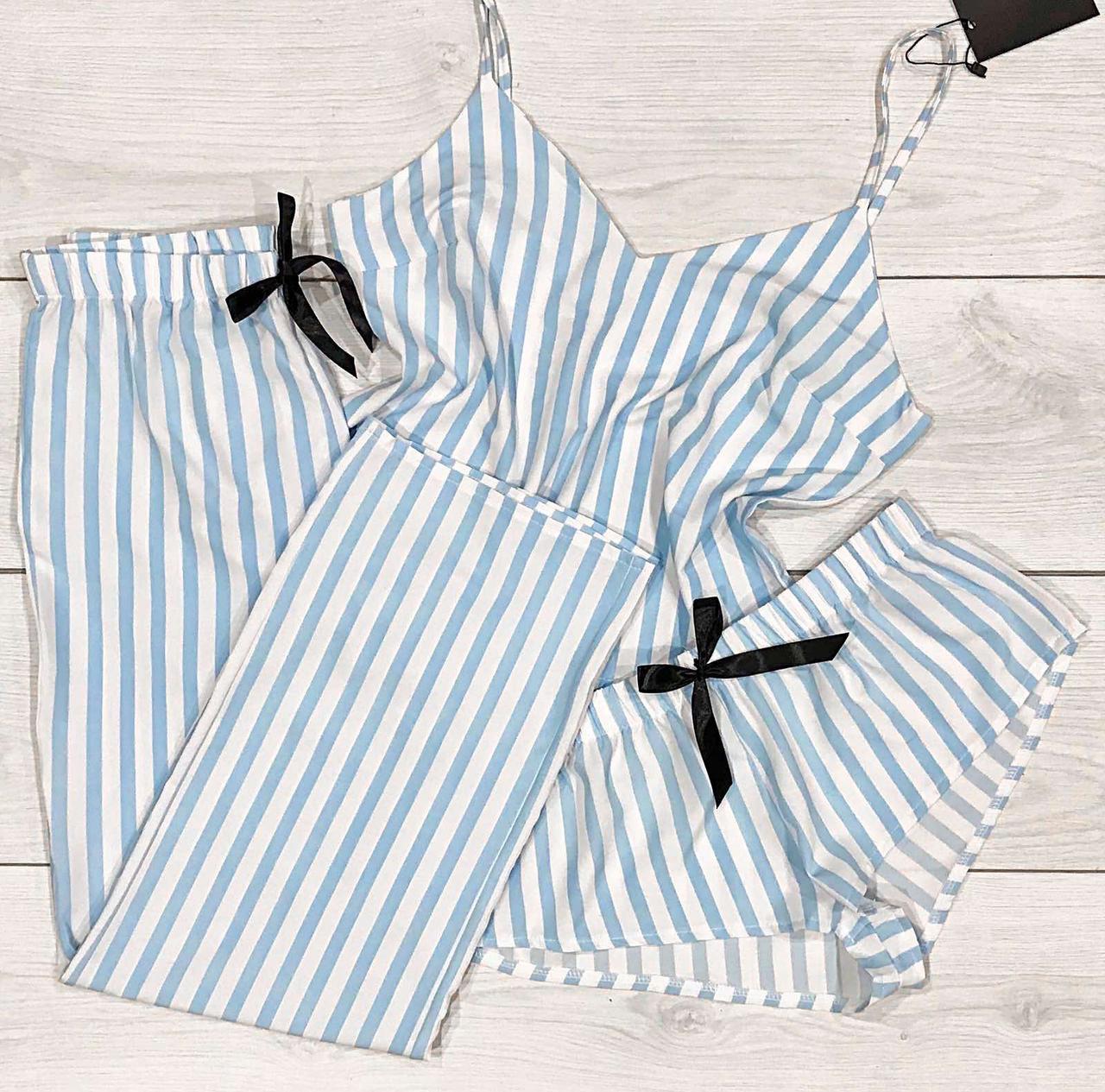 Комплект-тройка Молодежная пижама в полоску.