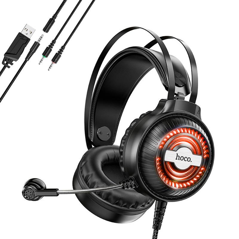 Игровые наушники с микрофоном и подсветкой НОСО Gaming LED RGB Headphones W101 геймерские Black черные