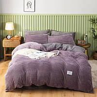 Комплект постельного белья Велюр - Сатин Полоска двухсторонний Фиолетовый евро размер