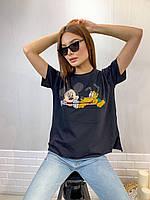 Турецкая трикотажная женская футболка с рисунком, черный 7215