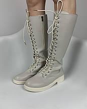 Высокие сапоги на шнурках женские светло серые