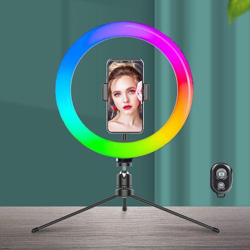 Кільцева лампа RGB 26см + залізний штатив трипод + блютуз пульт