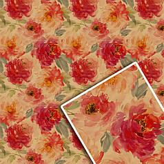 """Подарочная упаковочная крафт бумага """"Красные цветы"""" на сером 70*100см 10л/уп"""